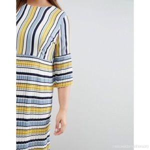 ASOS Dresses - ASOS Curve Lost Ink Stripe Pleated Tea Dress